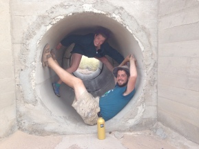 Sean and Benjamin catch shade in RR culvert