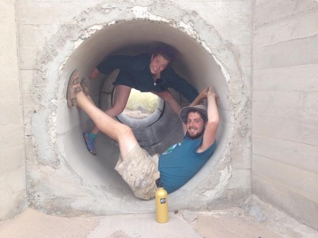 Sean and Benjamin catch shade in RR culvert