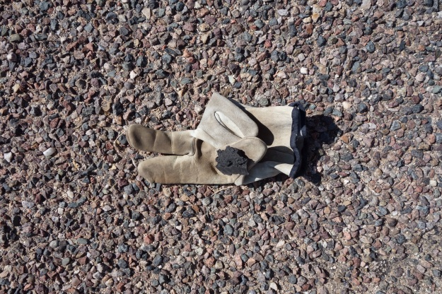 Peace glove .... lead scout always takes roadside gloves and folds Peace sign. 100's across Az Ca