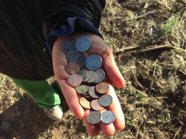 Finding change along the side of the road