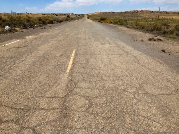 Hiking empty stretch of old Route 66