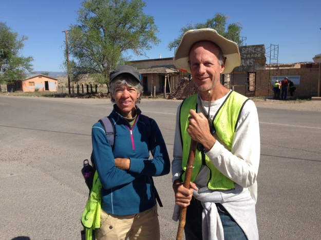 Ed Fallon and Kim Foley take a break along old pre 1937 Route 66