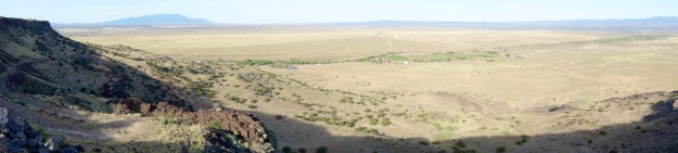 View atop La Bajada ... Below is Santa Fe River and our previous campsite at David Harrington's farm