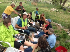 Marchers getting foot bath and massage by friends at New Buffalo
