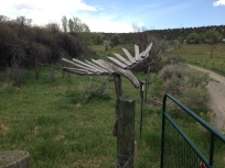 Crow sculptures on fence posts leading to main house