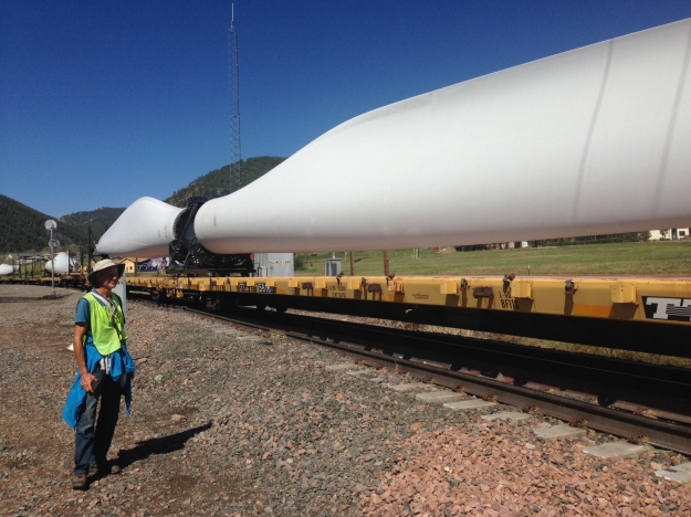 Ed Fallon Watches wind turbine blades shipped by rail