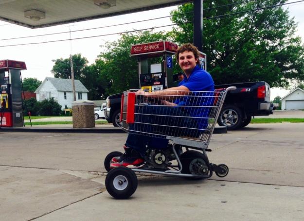 Grocery cart with engine in Osceola Iowa