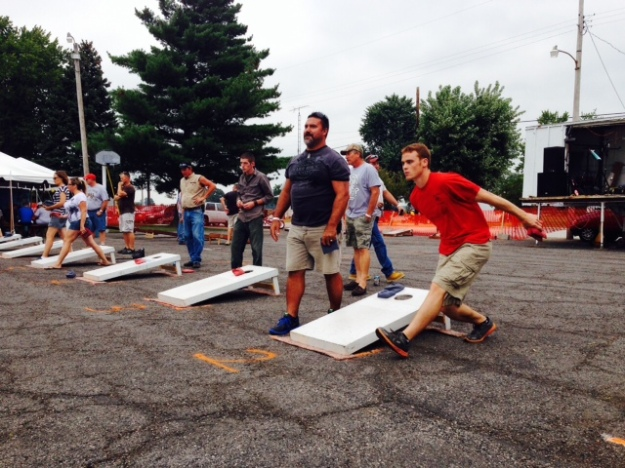 Corn hole tournament in Kirby Ohio